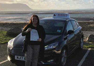 Rachel Lawlor from Llandudno passed in Bangor 16th January 2019.