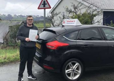 Cai from Trefriw passed first time January 29th 2019.