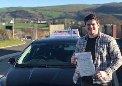 Corey from Llandudno Junction passed first time in Bangor 25th February 2019.
