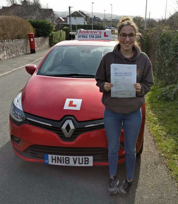 Elen took her driving lessons in Deganwy