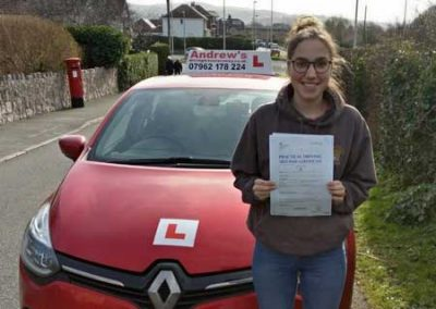 Ellen Griffiths from Deganwy passed first time in Bangor February 22nd 2019.
