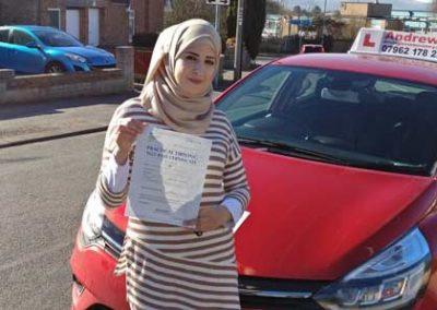 Hiba Alajati passed in Rhyl 26th February 2019.