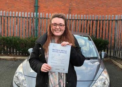 Nia Farniss from Mochdre passed at Rhyl  6th February 2019.