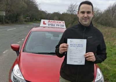 Dylan Taylor passed first time 21st March 2019.
