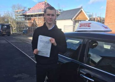 Joshu passed the driving test at Bangor in March 2019.