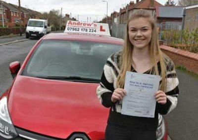 Nia Williams from Colwyn Bay passed first time at Rhyl March 19th 2019