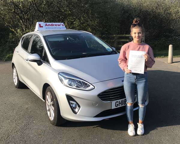 Alys in Abergele after passing her driving test