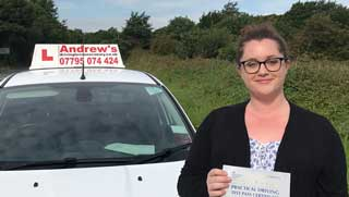 Catherine passed her driving test