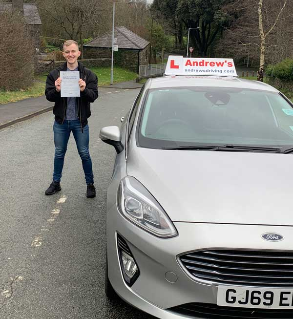 Kieran from North Wales after his intensive driving course