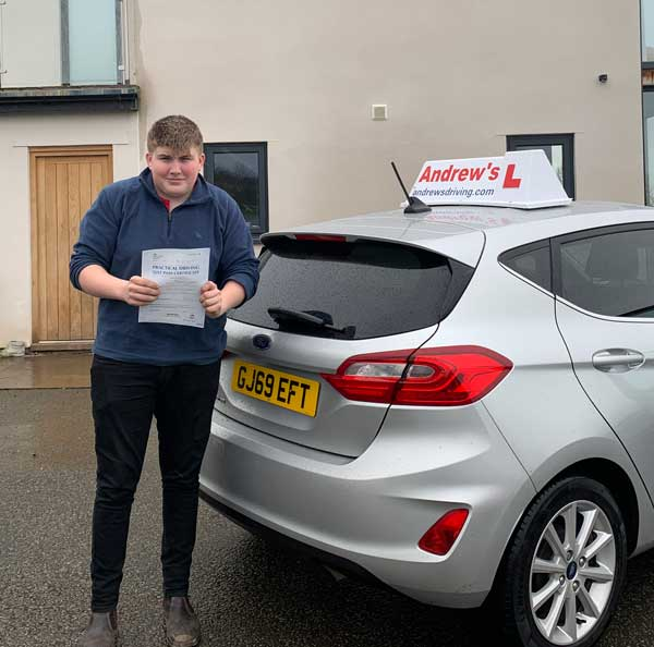 Tomos in Abergele after his driving test in Rhyl