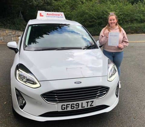 Ellie in Colwyn Bay after passing her driving test
