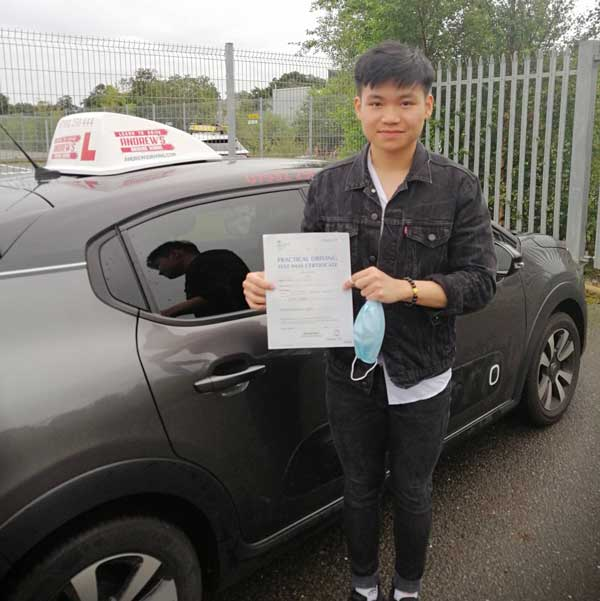 Jamie after driving test in Rhyl